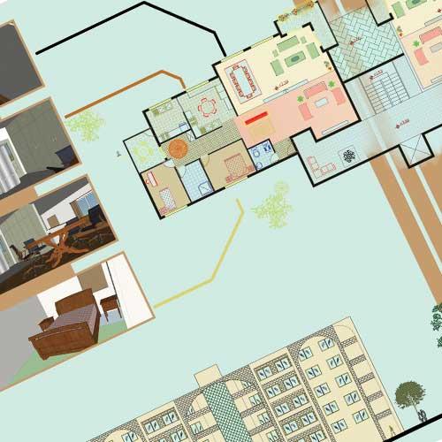 طراحی شیت معماری مجتمع مسکونی